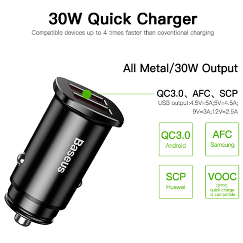 Baseus Square metal A+A 30W Dual QC3.0 Quick Car Charger(QC 3.0 SCP AFC) Black