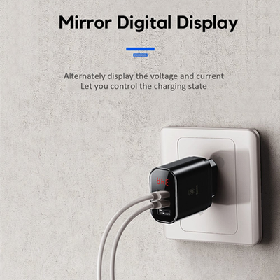 Baseus Mirror Lake Intelligent Digital Display 3USB Travel Charger 3.4A