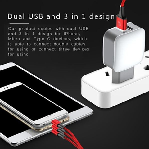 Baseus Letour Dual U Charger(EU)+3-in-1 cable(Apple+Micro+Type-C)