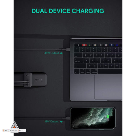 Aukey USB C Charger Omnia 65W 2-Port Fast Charger (PA-B4)