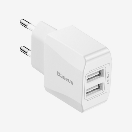 Baseus Mini Dual-U Charger(EU)2.1A White