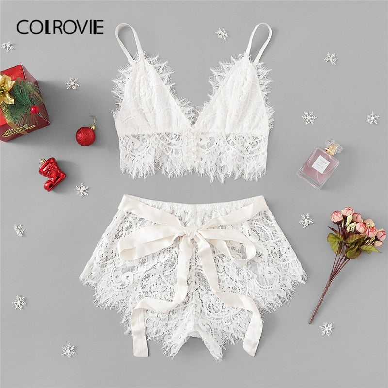 153208b1883c COLROVIE White Solid Tie Eyelash Ribbon Christmas Lace Sexy Intimates – The  Magnifique Boutique