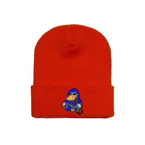 Beanie Blue on Red