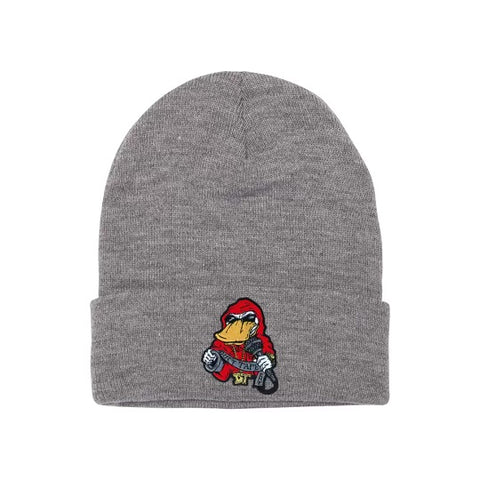 Beanie Red on Grey
