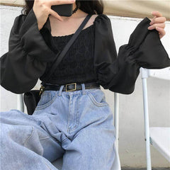 VINTAGE AESTHETIC CROPPED BLOUSE
