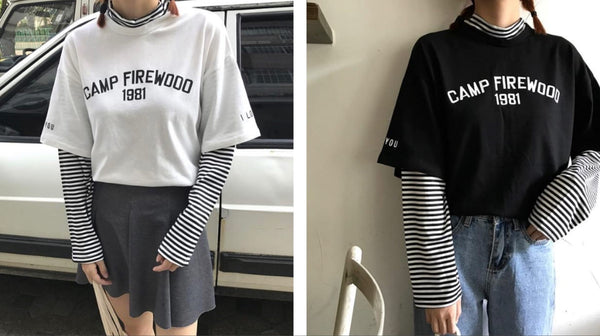AESTHETIC LETTERS PRINT STRIPED SLEEVES FAKE TWO PIECE SHIRT