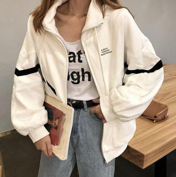 Buy cheap Aesthetic clothes BLACK AND WHITE WINDBREAKER SPORTY ZIPPER JACKET 30% OFF - NORMCORE STUDIOS