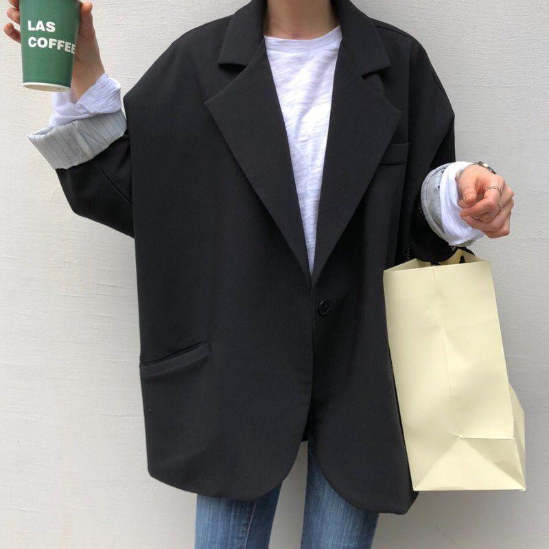 Buy cheap Aesthetic clothes BASIC BLACK OVERSIZED LONG SMOKING BLAZER JACKET 30% OFF - NORMCORE STUDIOS