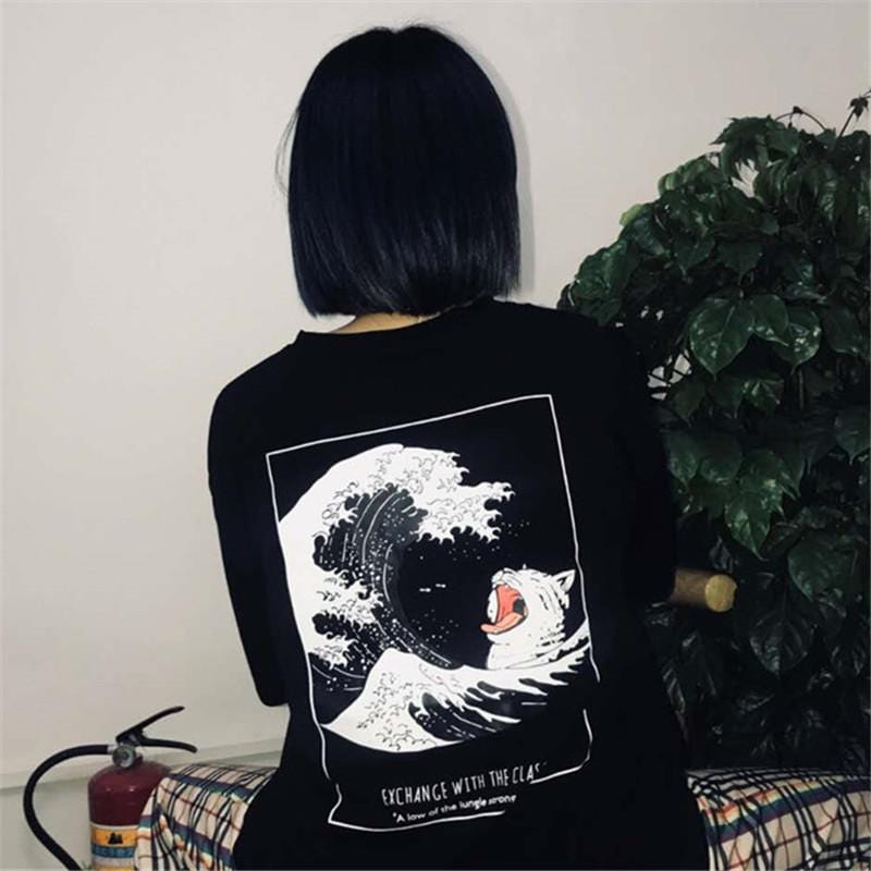 Buy cheap Aesthetic clothes GREAT WAVE BACK PRINT OVERSIZED BLACK T-SHIRT 30% OFF - NORMCORE STUDIOS