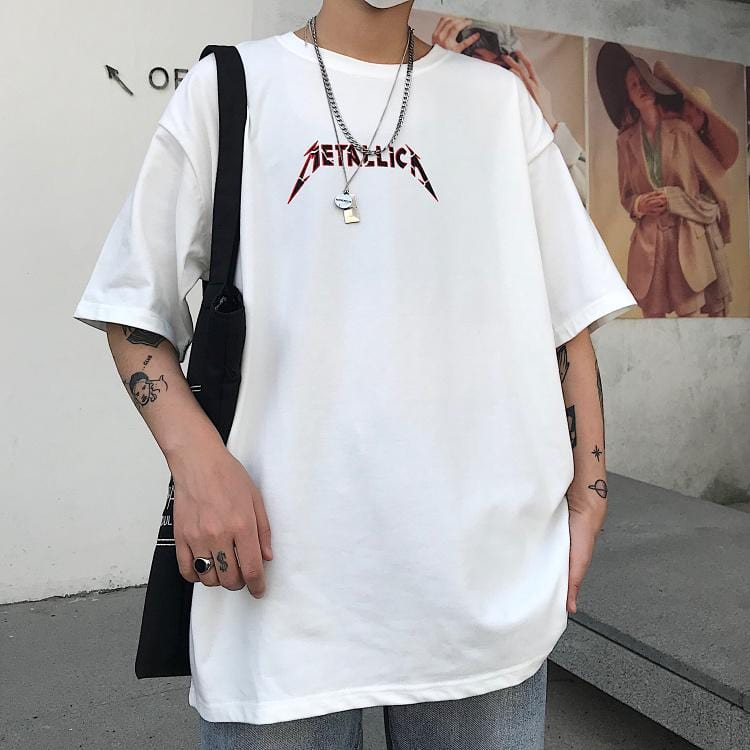 GRUNGE ROCK LETTER PRINT OVERSIZED WHITE T-SHIRT