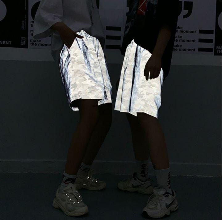 REFLECTIVE CAMOUFLAGE PRINTING LOOSE SHORTS