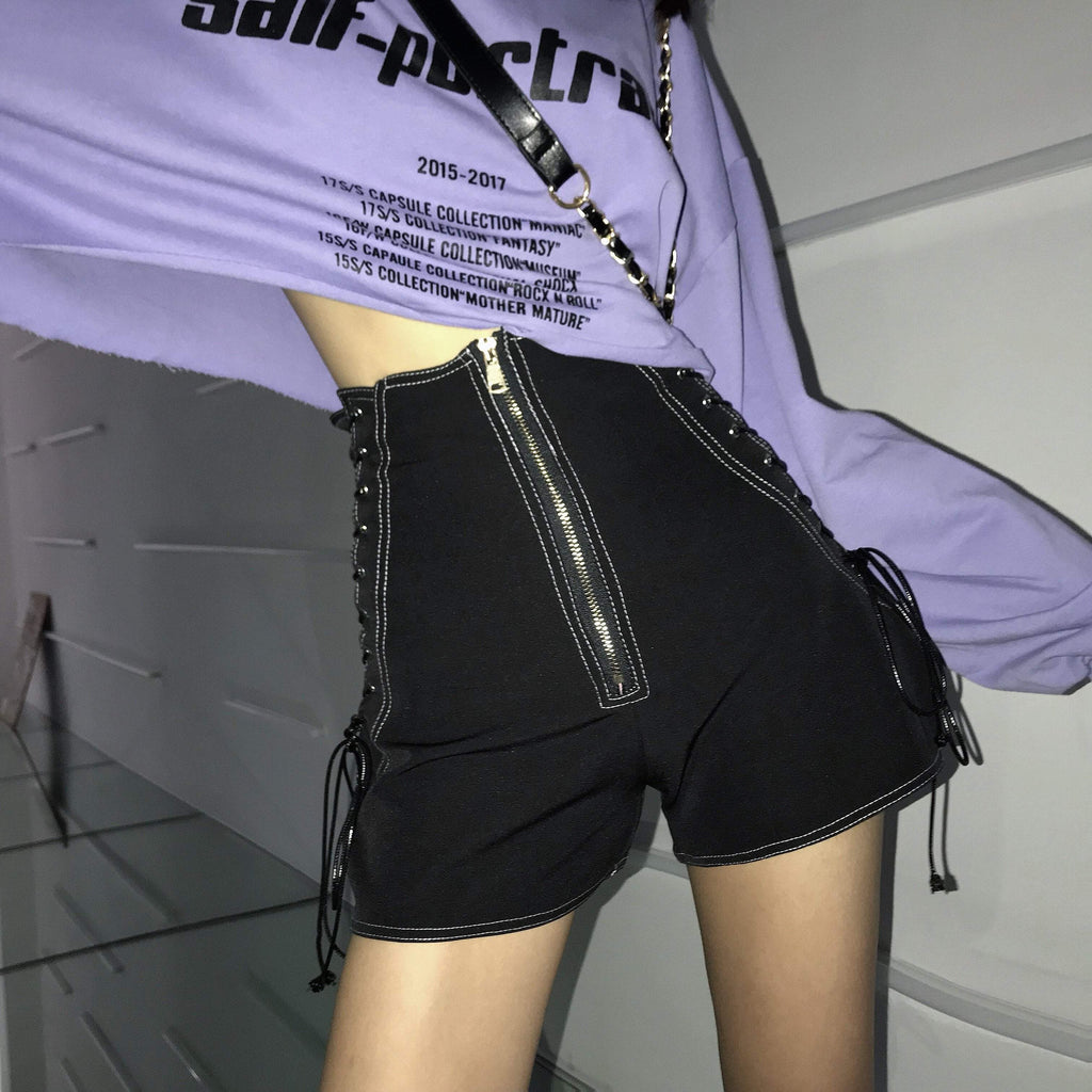 Buy cheap Aesthetic clothes HIGH WAIST LACE UP WIDE LEG THIN SHORTS 30% OFF - NORMCORE STUDIOS