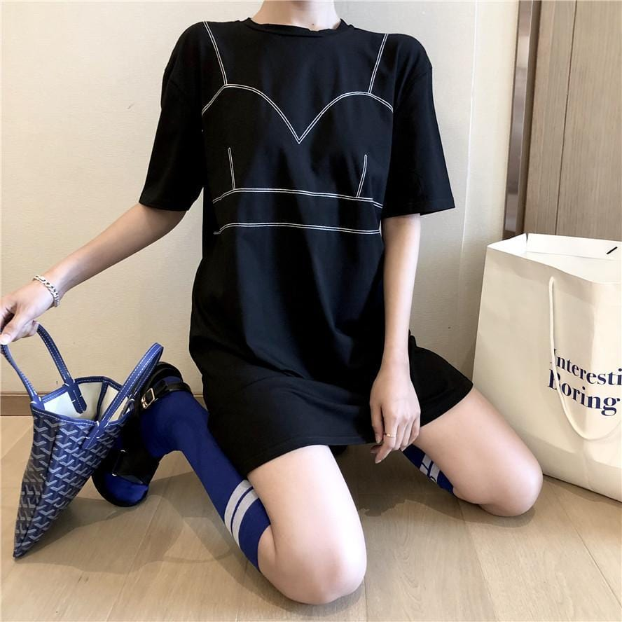 Buy cheap Aesthetic clothes BLACK DOTTED LINES PRINT OVERSIZED GRUNGE LONG T-SHIRT 30% OFF - NORMCORE STUDIOS
