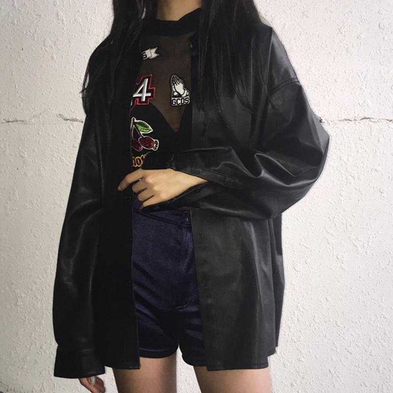 Buy cheap Aesthetic clothes BLACK FAUX LEATHER OVERSIZED SHIRT 30% OFF - NORMCORE STUDIOS