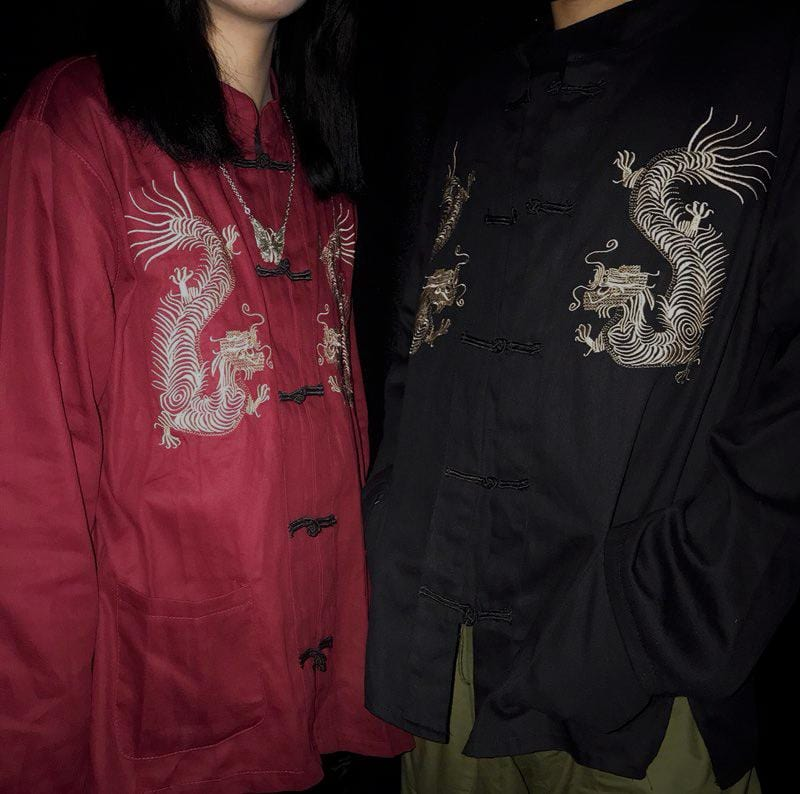 DRAGON EMBROIDERY CHINESE STYLE OVERSIZED SHIRT