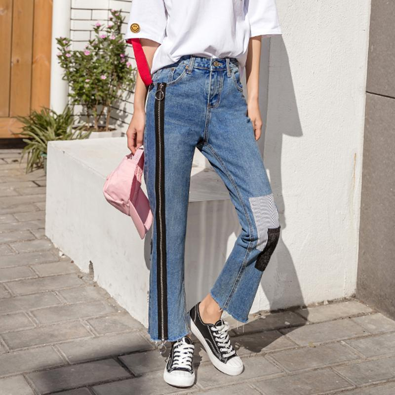 Buy cheap Aesthetic clothes ZIPPER PATCH DECORATION TROUSERS DENIM BOYFRIEND JEANS 30% OFF - NORMCORE STUDIOS