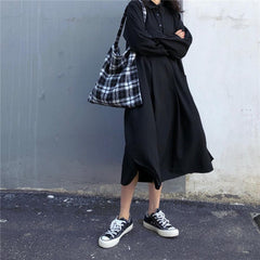 Buy cheap Aesthetic clothes CLASSIC OVERSIZE BLACK LONG DRESS BUTONS 30% OFF - NORMCORE STUDIOS