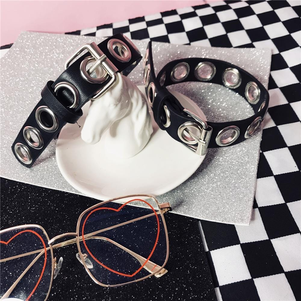 PUNK BLACK PU LEATHER CHOKER COLLAR