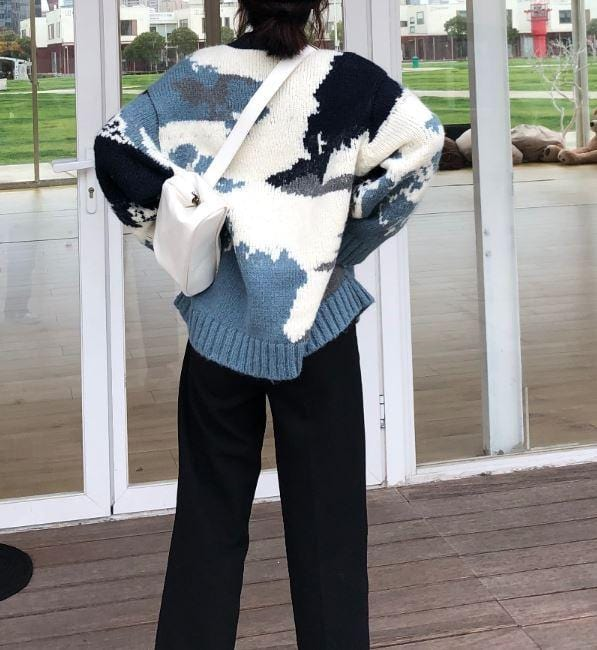 Buy cheap Aesthetic clothes BLUE SKY AND WHITE CLOUDS LOOSE WOOL KNITTED SWEATER 30% OFF - NORMCORE STUDIOS