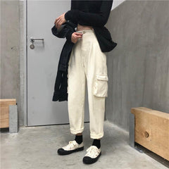 Buy cheap Aesthetic clothes BLACK BIG POCKETS ELASTIC HIGH WAIST LOOSE PANTS 30% OFF - NORMCORE STUDIOS
