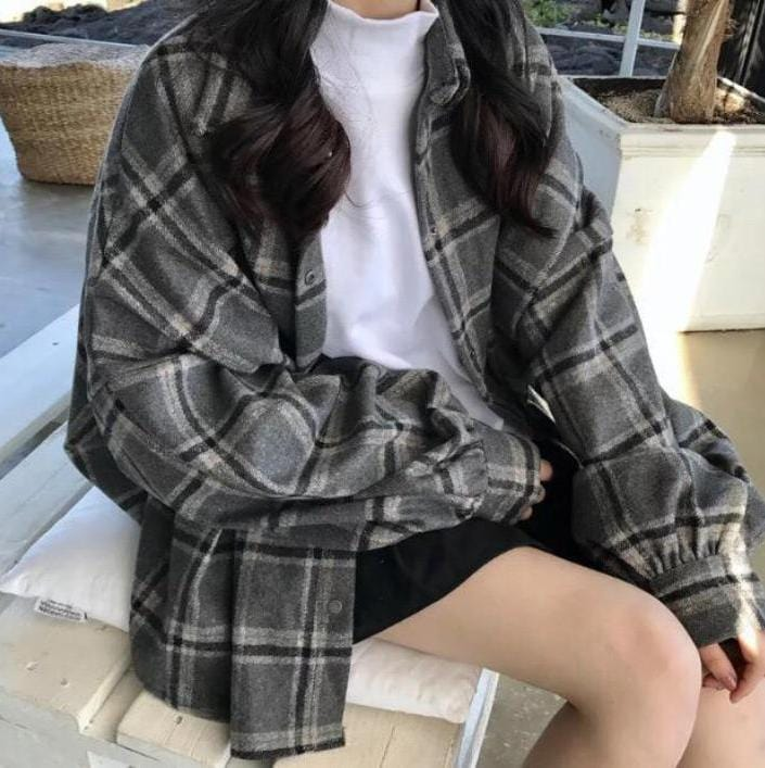OVERSIZED TARTAN PLAID WOOL SHIRT