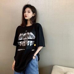Buy cheap Aesthetic clothes DISCO LETTER PRINT TURTLE NECK TOP + BLACK RETRO PRINTED T-SHIRT 30% OFF - NORMCORE STUDIOS