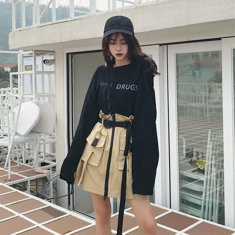 Buy cheap Aesthetic clothes 2 PIECE SET BACKLESS LONG SLEEVE T-SHIRT + HIGH WAIST TOOLING SKIRT 30% OFF - NORMCORE STUDIOS