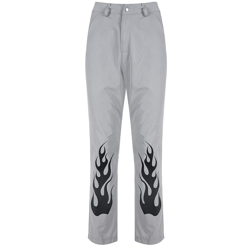 GRAY FLAME PRINTING HIGH WAIST STRAIGHT PANTS
