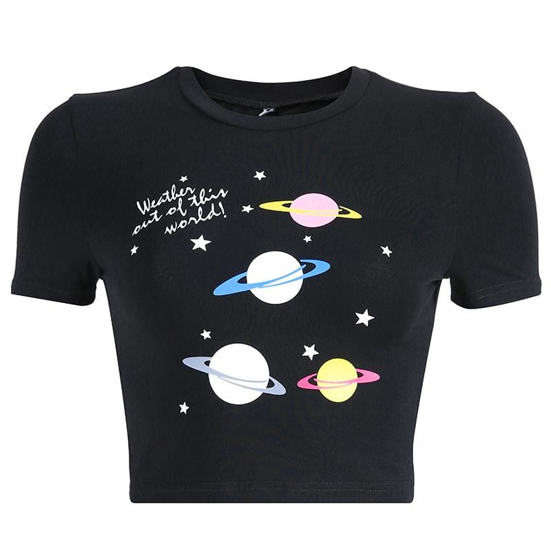 Buy cheap Aesthetic clothes PLANETS GALAXY PRINT BLACK CROPPED TOP 30% OFF - NORMCORE STUDIOS