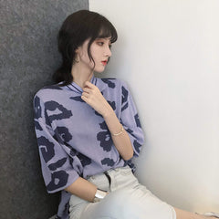 Buy cheap Aesthetic clothes PURPLE LEOPARD PRINT ROUND COLLAR KNIT T-SHIRT 30% OFF - NORMCORE STUDIOS