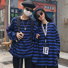Buy cheap Aesthetic clothes BLACK AND BLUE STRIPES LONG SLEEVE OVERSIZED T-SHIRT 30% OFF - NORMCORE STUDIOS
