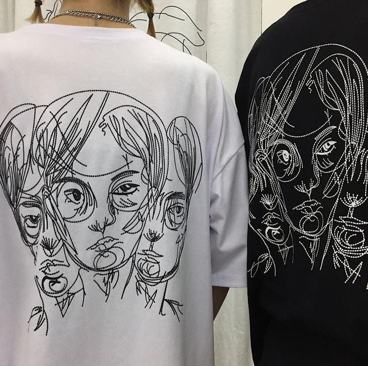 Buy cheap Aesthetic clothes BLACK AND WHITE CARTOON HEAD PRINT OVERSIZED T-SHIRT 30% OFF - NORMCORE STUDIOS