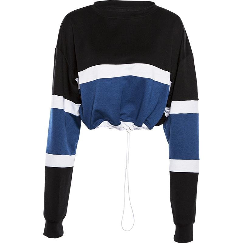 BLUE WHITE STRIPED PATCHWORK CROPPED SWEATSHIRT