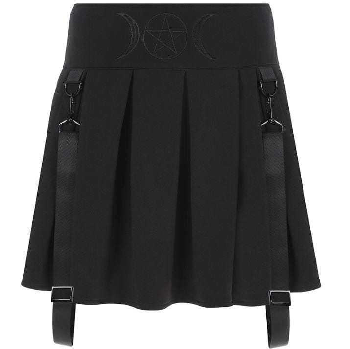 Buy cheap Aesthetic clothes GOTHIC MOON PRINTING BLACK PLEATED SKIRT 30% OFF - NORMCORE STUDIOS