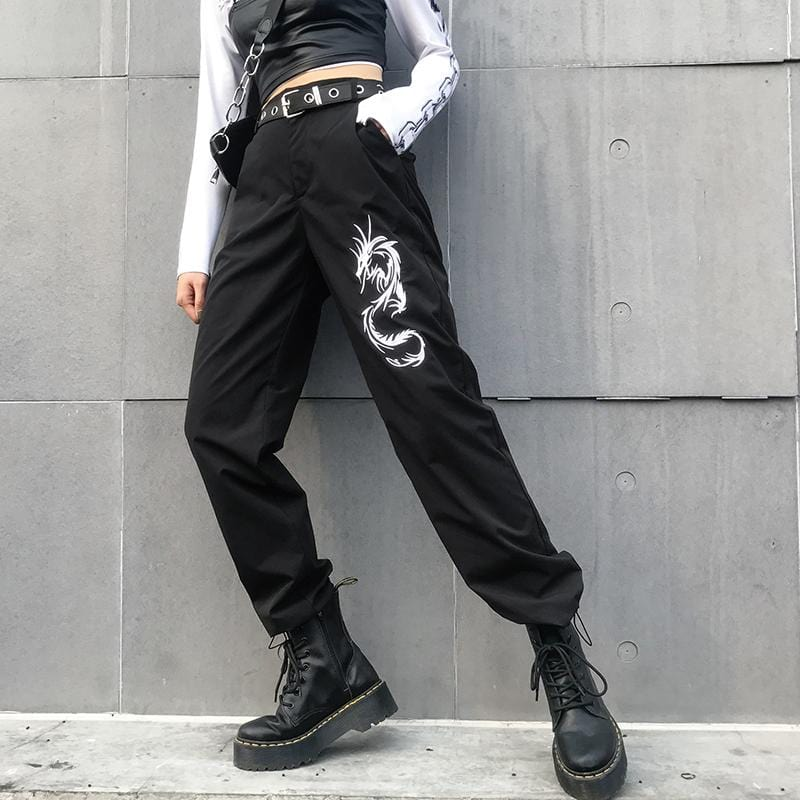 Buy cheap Aesthetic clothes DRAGON PRINT HIGH WAIST BLACK LOOSE COMFY PANTS 30% OFF - NORMCORE STUDIOS