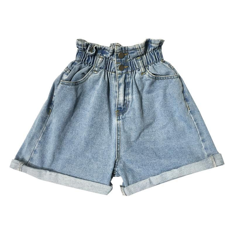 DENIM ELASTIC HIGH WAIST TWO BUTTONS SHORTS