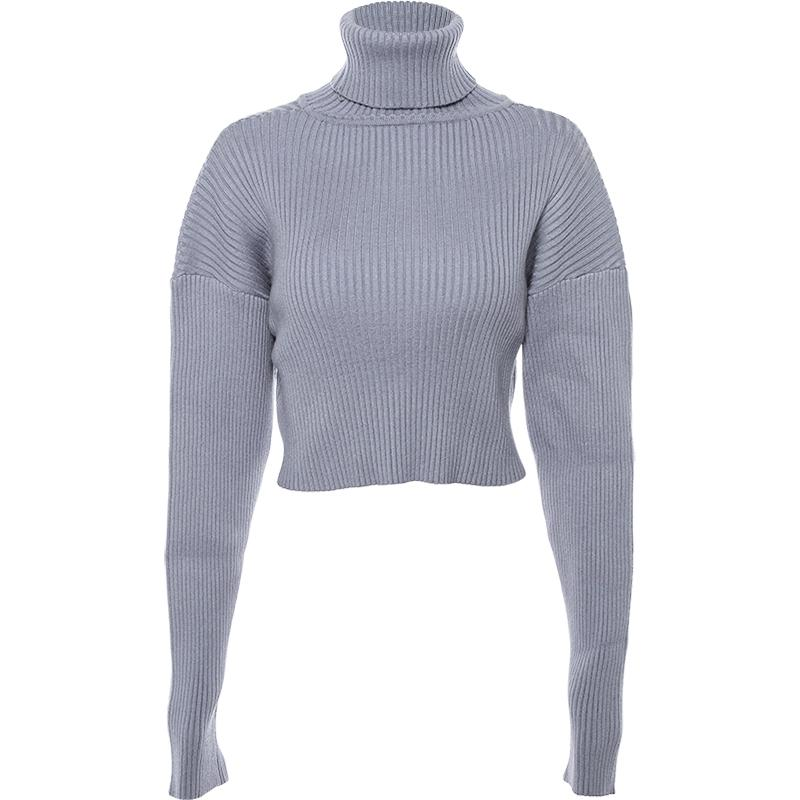 Buy cheap Aesthetic clothes BLUE TURTLE NECK OVERSIZE CROPPED KNITTED SWEATER 30% OFF - NORMCORE STUDIOS