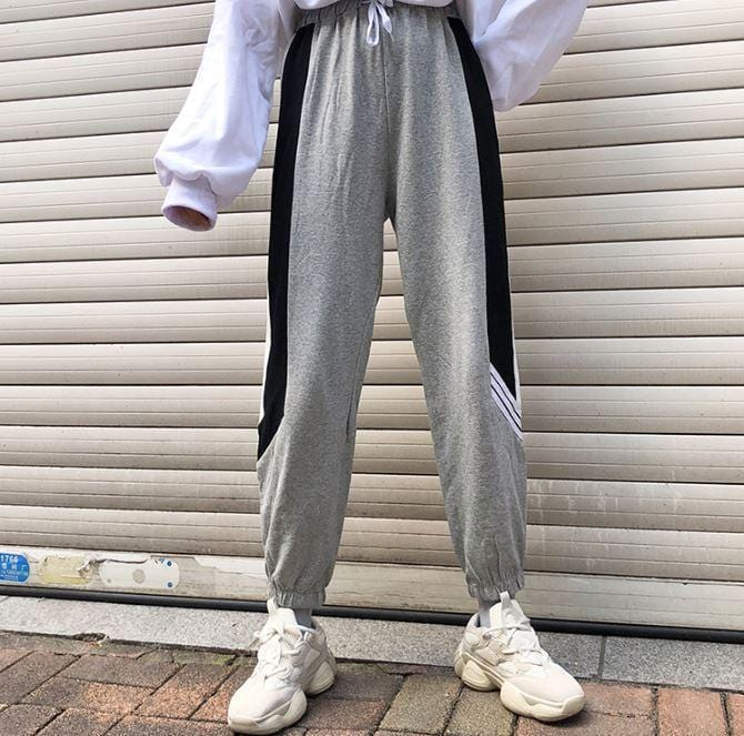 Buy cheap Aesthetic clothes GRAY BLACK CASUAL LOOSE ELASTIC WAIST PANTS 30% OFF - NORMCORE STUDIOS