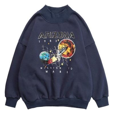 Buy cheap Aesthetic clothes ARIZONA SPACESHIP COSMIC PRINT HALF HIGH COLLAR SWEATSHIRT 30% OFF - NORMCORE STUDIOS