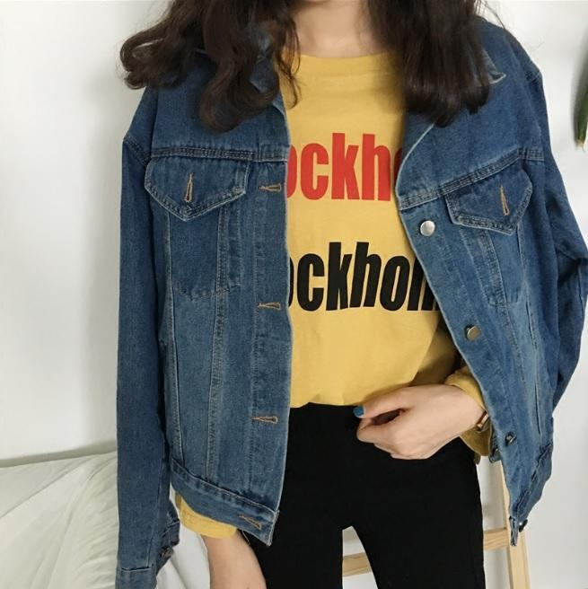 Buy cheap Aesthetic clothes BASIC COLLAR DARK BLUE VINTAGE DENIM JEAN JACKET 30% OFF - NORMCORE STUDIOS