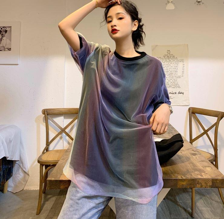 Buy cheap Aesthetic clothes GRADIENT COLOR MESH FAKE TWO PIECE LOOSE T-SHIRT 30% OFF - NORMCORE STUDIOS