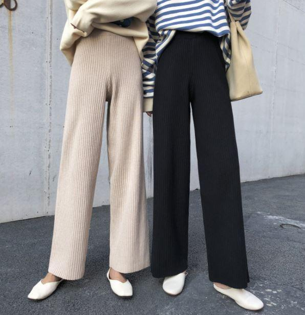 Buy cheap Aesthetic clothes HIGH WAIST PALAZZO BLACK BEIGE ELEGANT LOOSE PANTS 30% OFF - NORMCORE STUDIOS