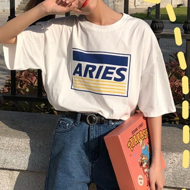 Buy cheap Aesthetic clothes ARIES MATERIAL PRINT WHITE OVERSIZED COTTON GRUNGE T-SHIRT 30% OFF - NORMCORE STUDIOS