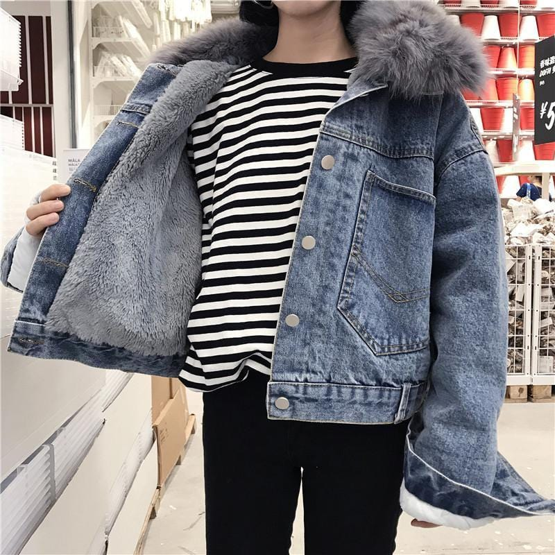 Buy cheap Aesthetic clothes BACK POCKETS DENIM VELVET INSIDE FAUX FUR HOOD JACKET 30% OFF - NORMCORE STUDIOS