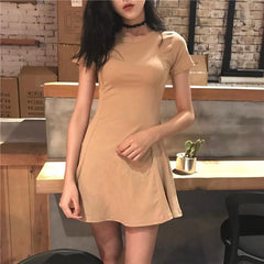 Buy cheap Aesthetic clothes BASIC COTTON SHORT SUMMER SLIM SEWED DRESS 30% OFF - NORMCORE STUDIOS