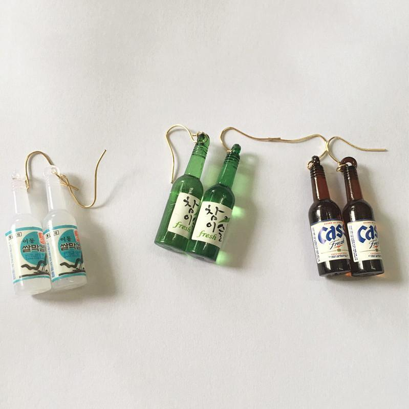 itGirl Shop BEER BOTTLE CUTE PLASTIC EARRINGS Aesthetic Apparel, Tumblr Clothes, Soft Grunge, Pastel goth, Harajuku fashion. Korean and Japan Style looks