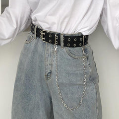 Buy cheap Aesthetic clothes BLACK DOUBLE ROW METAL RING HOLES CHAIN BELT 30% OFF - NORMCORE STUDIOS