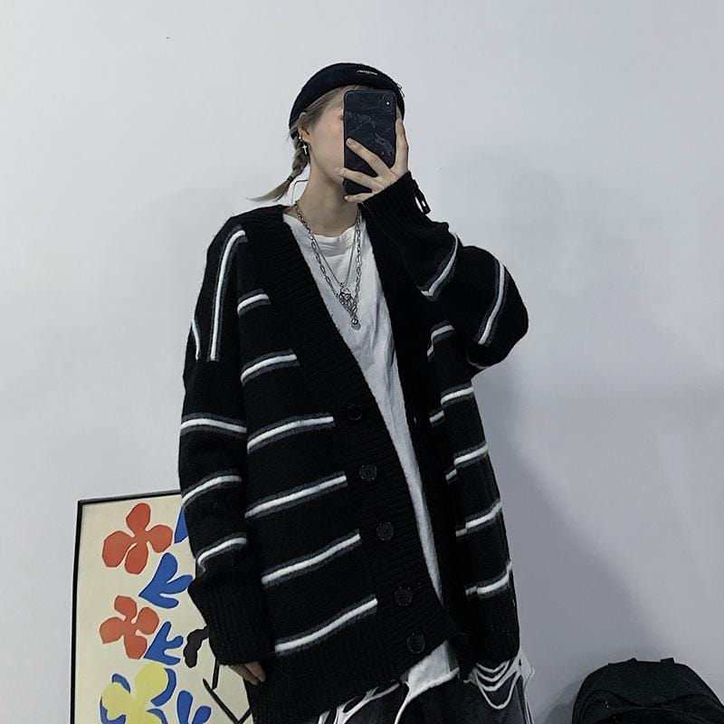 Buy cheap Aesthetic clothes BLACK GRAY STRIPED LOOSE VINTAGE CARDIGAN SWEATER 30% OFF - NORMCORE STUDIOS