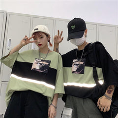Buy cheap Aesthetic clothes BLACK GREEN ANIME REFLECTIVE LINE OVERSIZED T-SHIRT 30% OFF - NORMCORE STUDIOS