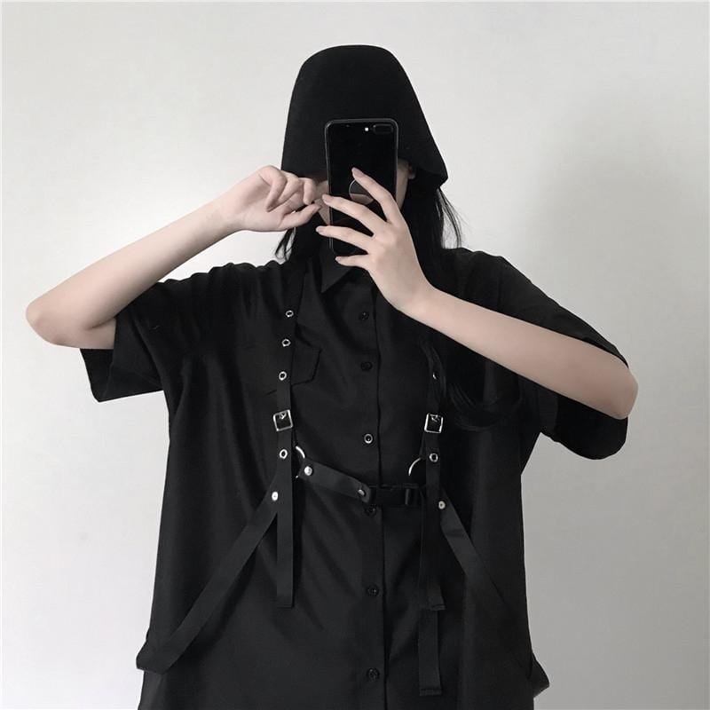 Buy cheap Aesthetic clothes BLACK OVERSIZED LOOSE SHIRT + BLACK STRAPS 30% OFF - NORMCORE STUDIOS
